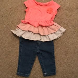 Adorable peach ombré ruffle shirt and jeans outfit